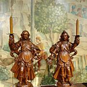 Rare 17th Century Fruitwood Torcheres