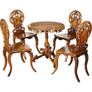 Complete Set of Antique Inlaid Edelweiss Brienz Tilt–Top Table and Four Chairs