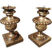 Pair of Silver Leafed Urn Shaped Candle Holders from Italy