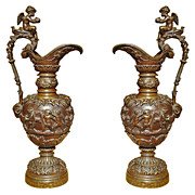 A Pair of Antique French Patinated Bronze Ewers with Bacchanalian Scenes-Late 1800's