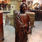 Antique Walnut Wood Religious Statue-St. John