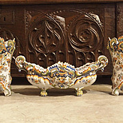 Three Piece Set of Antique Faience-Rouen France