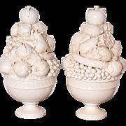 Pair of Tall Italian Creamware Pedestal Bowls of Fruit