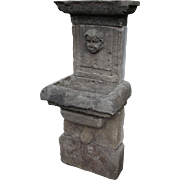 Small Carved Limestone Wall Fountain from France