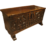17th Century French Walnut Wood Gothic Trunk