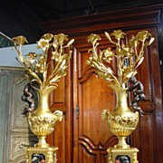 Pair of Antique French Bronze Dore Candleabras-Victor Paillard 1805-1886