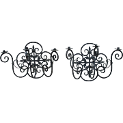 Pair of Large Three-Arm Iron Sconces from France
