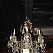 Crystal and Bronze Chandelier