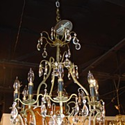 9 Light Crystal and Bronze Chandelier (US Wired)