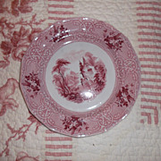 "SALE 1848 Ironstone Plate J. Meir & Son 'Roselle"" Pattern Red Transferware 8.5"""