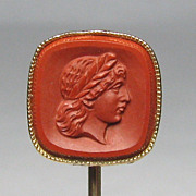 REDUCED Antique Edwardian 14K Gold Carved Cameo Stick Pin