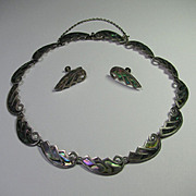 REDUCED Vintage Sterling Silver Taxco Mexico Abalone Inlay Necklace & Earring Set