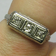 REDUCED Vintage Art Deco Etched 18K White Gold 3 Diamond Ring