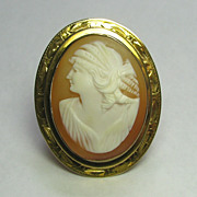 REDUCED Antique Early Art Deco 10K Gold Shell Cameo Brooch Pendant