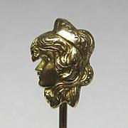 REDUCED Vintage 14K Gold Art Nouveau Style Byzantine Woman/Lady Stick Pin
