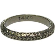 REDUCED Antique Art Deco 14K White Gold Baby Child's Patterned Band