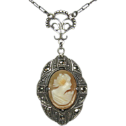 REDUCED Antique Art Deco Sterling Silver Marcasite & Shell Cameo Pendant Necklace