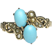REDUCED Antique Victorian 10K Gold Seed Pearl & Turquoise Ring