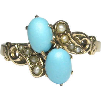 Antique Victorian 10k Gold Seed Pearl Amp Turquoise Ring