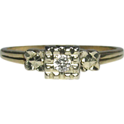 REDUCED Vintage Art Deco 14K White & Yellow Gold Diamond Solitaire Ring