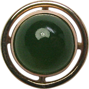REDUCED Antique Edwardian 14K Gold Chrysoprase Cabochon Stick Pin