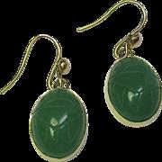 REDUCED Vintage Art Deco 14K Gold Carved Jade Jadeite Scarab Earrings