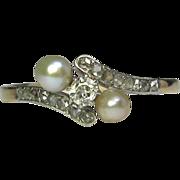 REDUCED Antique Edwardian 14K Gold & Platinum Diamond & Pearl Ring