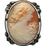Antique Art Deco Sterling Silver Filigree Shell Cameo Brooch