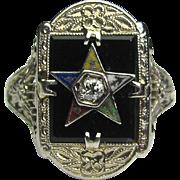Antique Art Deco 14K White Gold Enamel, Onyx, Diamond Eastern Star Ring