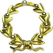 Antique Edwardian 14K Gold Wreath Watch Pin/Brooch
