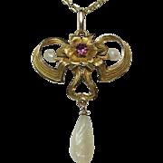 Antique Art Nouveau 10K Gold Pink Tourmaline Lavaliere Pendant