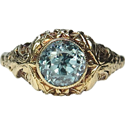 Vintage Art Deco 10K Gold Blue Zircon Filigree Ring