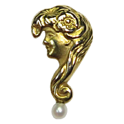 Antique Edwardian 14K Gibson's Girl Question Mark Stick Pin