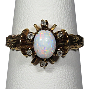 Antique Victorian 10K Rose Gold Opal & Diamond Ring