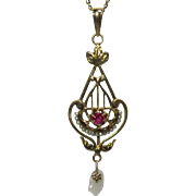 Antique Edwardian 10K Gold Seed Pearl & Ruby Lavaliere Pendant