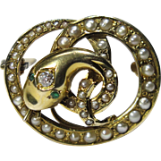 Antique Victorian 10K Gold Seed Pearl & Diamond Snake Serpent Watch Pin/Brooch