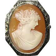 Antique Art Deco 14K White Gold Shell Cameo Brooch