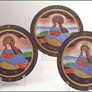 """SOLD Set of (3) Satsuma 7 1/4"""" Plates with Moriage"""