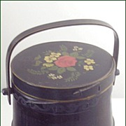SOLD Folk Art Wooden Ware Covered & Handled Firkin ~ Original Black Paint with Hand-Painted  R