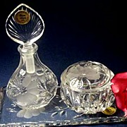 SOLD 4 Pc PRINCESS HOUSE Heritage 24% Lead Crystal Vanity Set - Perfume Bottle/Trinket Jar/Dre