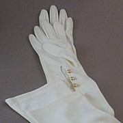 SOLD Elegant  Vintage Opera-Length Formal or Bridal~Wedding Gloves with Simulated Pearl Button