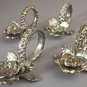 "SOLD Set (4) Scarce Vintage Princess House Silverplate ""Heritage"" Napkin Rings & Pla"