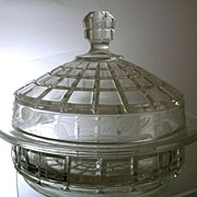 SOLD Depression-Era  Glass & Etched Covered Cheese Dish