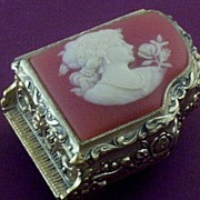 """SOLD Piano-Shape Musicbox with Cameo-Lady Cover ~ Plays """"Amazing Grace"""""""
