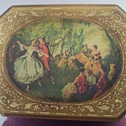 """SOLD Vintage Large Musical Jewelry Box with Period Scene - Plays """"Somewhere My Love"""""""