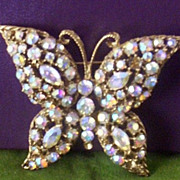 SOLD Large Dazzling Crystal Prong-Set Butterfly Brooch