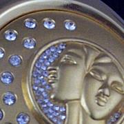 SOLD Collectible Estee Lauder Gemini Zodiac Rhinestone Compact -Unused & Box & Pouch
