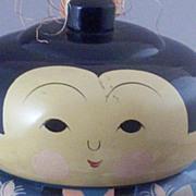 SOLD Vintage Japanese Kokeshi Doll - Handpainted Robe - Red Foil Label
