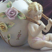 SOLD Vintage Porcelain Putti-Cherub with Floral Egg Cart Figurine & Vase