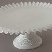 SOLD Vintage Fenton Ruffled, Crimped Cake Plate with Hobnail Pedestal